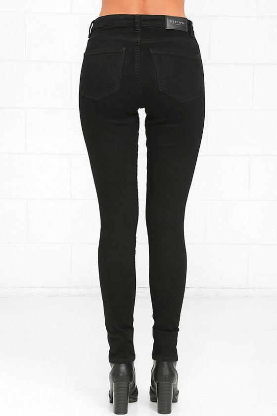 Obey Slasher Black Distressed Ankle Skinny Jeans 5
