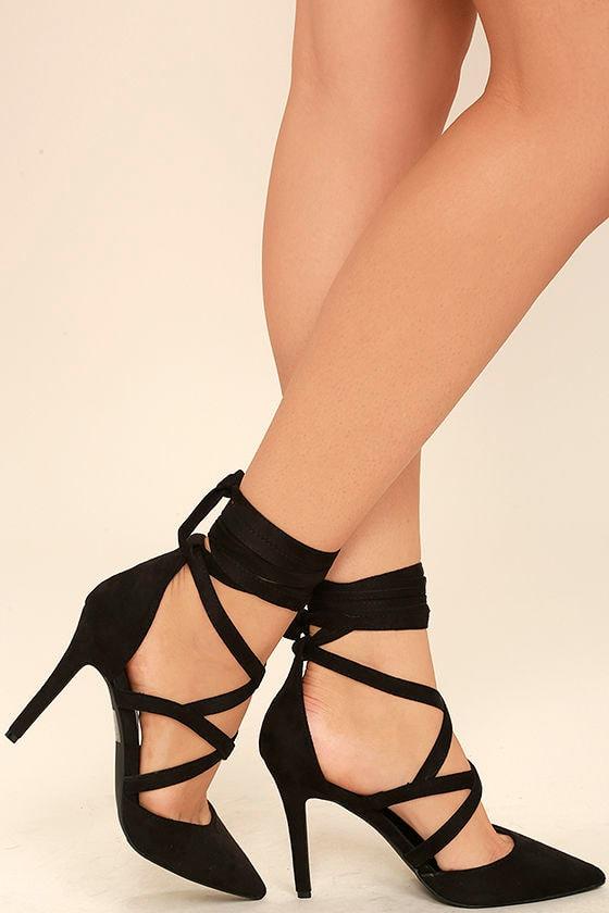 661a6ad9ac0f Sexy Black Heels - Black Pumps - Black Lace-Up Heels -  26.00