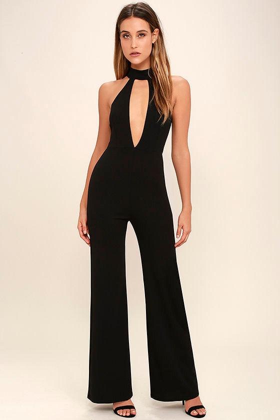 Chic Black Jumpsuit Sleeveless Jumpsuit Cutout