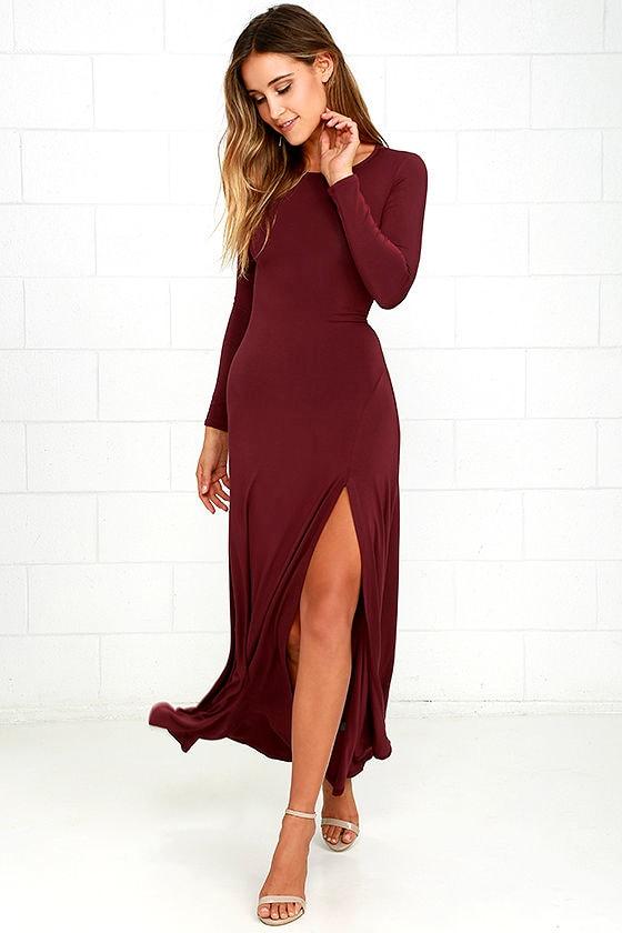 Swept Away Burgundy Long Sleeve Maxi Dress 1