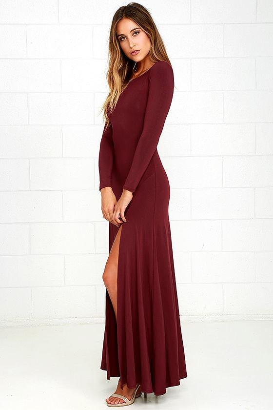 Swept Away Burgundy Long Sleeve Maxi Dress 2