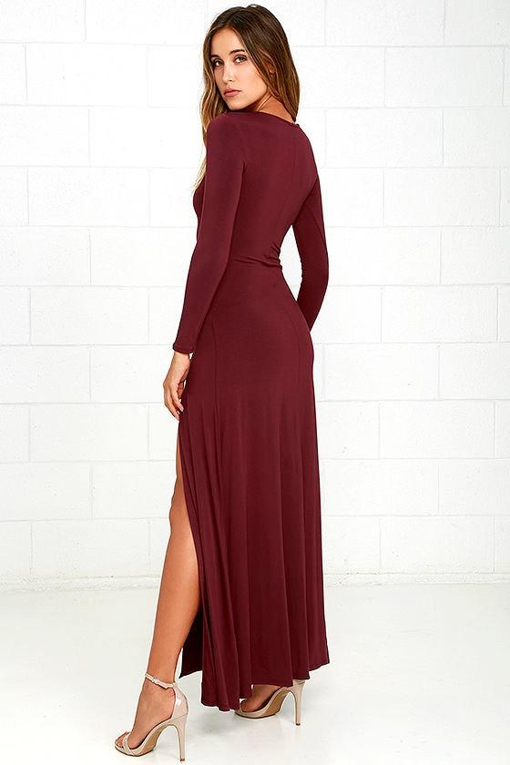 Swept Away Burgundy Long Sleeve Maxi Dress 3