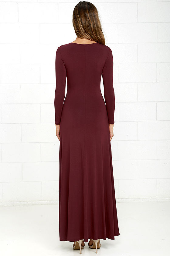Swept Away Burgundy Long Sleeve Maxi Dress 4