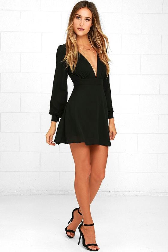 Cute Black Dress - Long Sleeve Dress - Homecoming Dress - $59.00