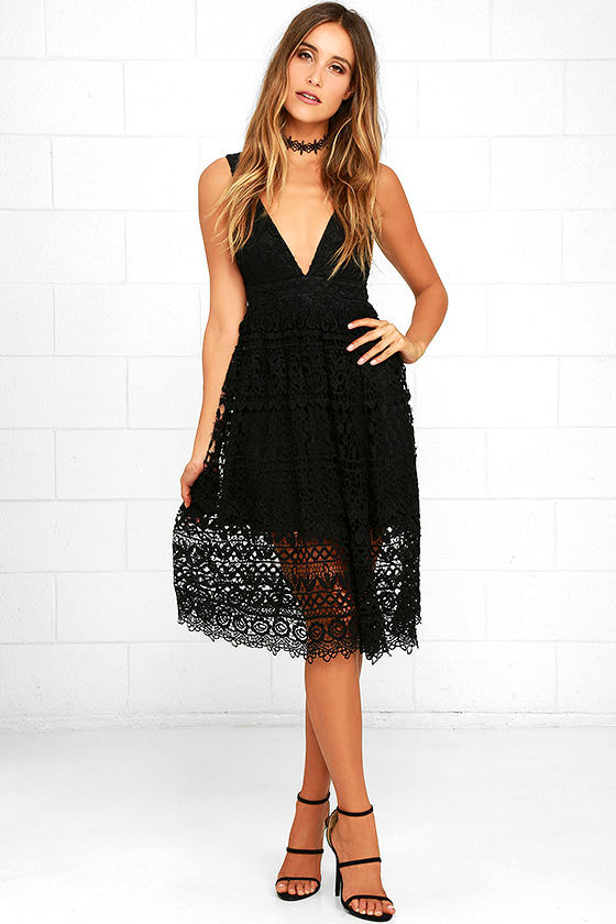 Cute Lace Dress - Black Dress - Midi Dress - $69.00