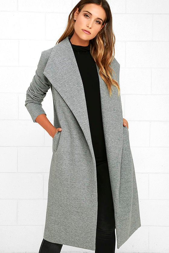 Chic Heather Grey Coat - Felted Coat - Long Coat - $87.00