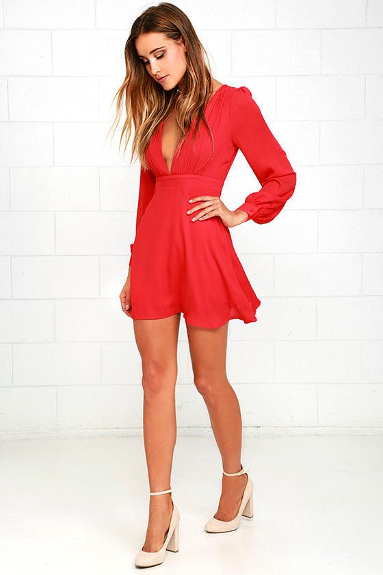 Ecstatic Harmony Red Long Sleeve Dress 3