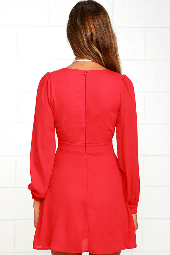Ecstatic Harmony Red Long Sleeve Dress 5
