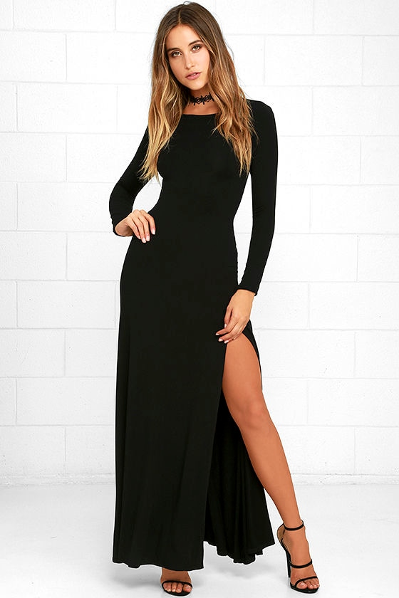 chic black dress maxi dress long sleeve dress 6400