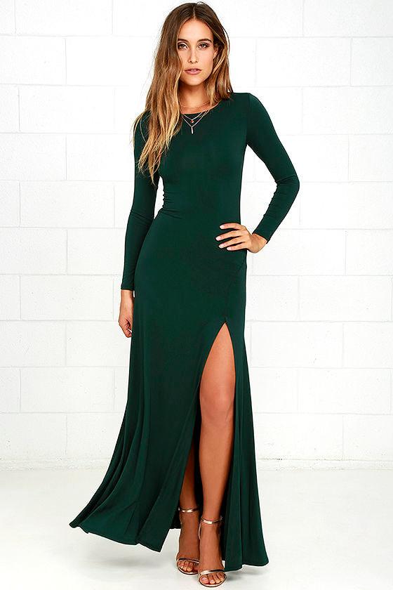 Swept Away Forest Green Long Sleeve Maxi Dress 1