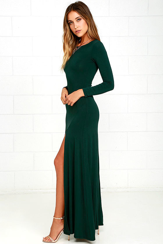 Chic Forest Green Dress - Maxi Dress - Long Sleeve Dress - $64.00