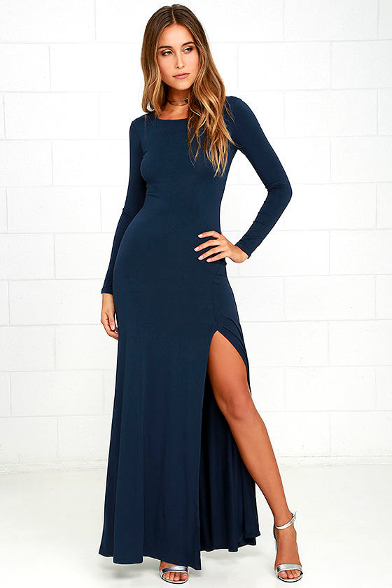 Comfy Navy Blue Dress - Maxi Dress - Long Sleeve Dress - $64.00