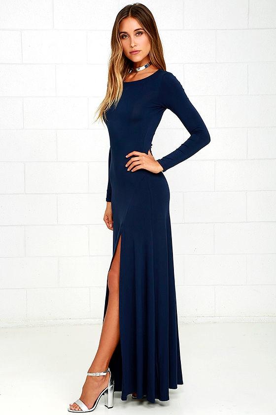680d92a274 Comfy Navy Blue Dress - Maxi Dress - Long Sleeve Dress - $64.00