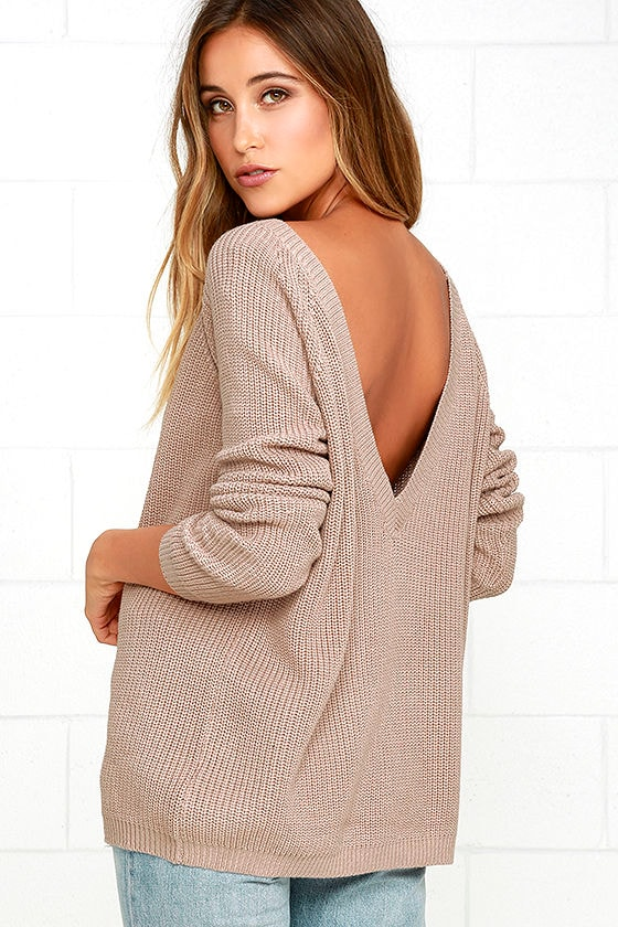 Light Brown Sweater - Knit Top - Backless Sweater - V-Back Sweater ...