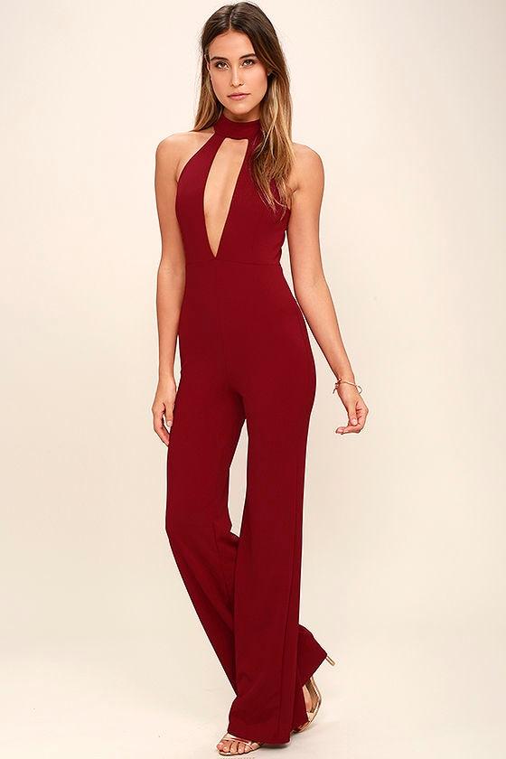 Chic Wine Red Jumpsuit - Sleeveless Jumpsuit - Cutout Jumpsuit - $62.00
