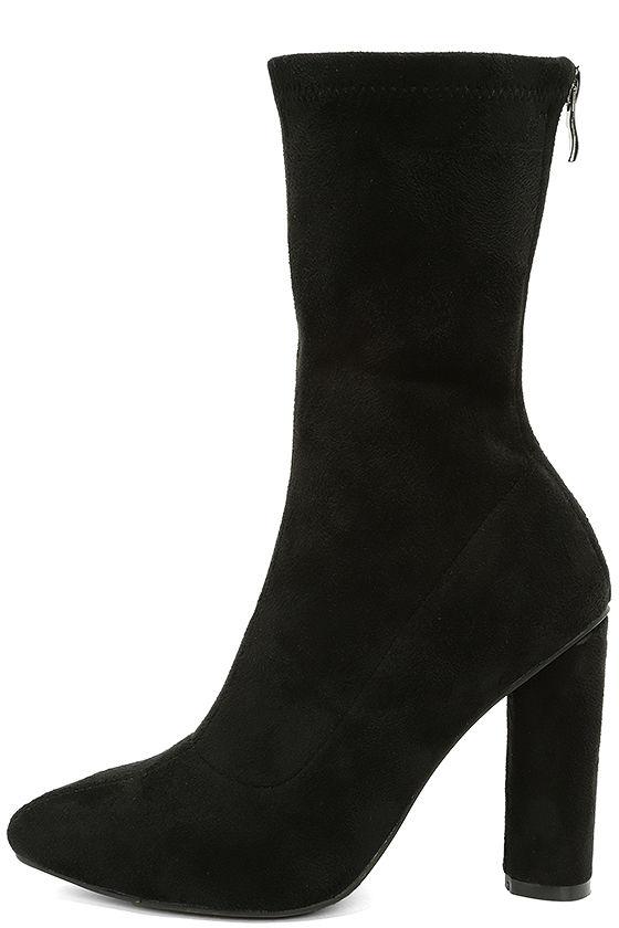 black high heel boots vegan suede boots mid calf boots