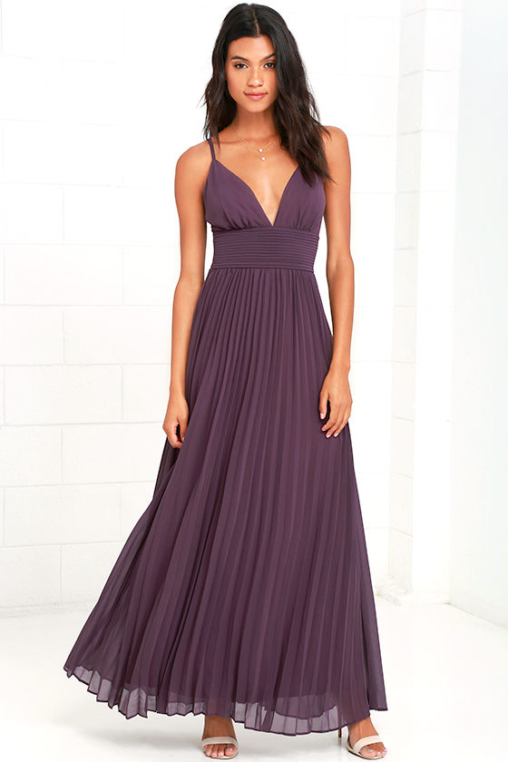 Stunning Dusty Purple Dress - Pleated Maxi Dress - Purple Gown ...