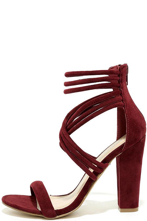1a0e299bfa9 Burgundy Heels - Vegan Suede Heels - Caged Heels - Strappy Heels -  34.00