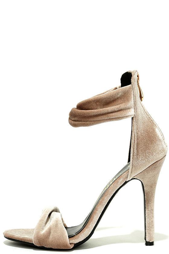 3a887c5035d4 Chic Beige Heels - Velvet Heels - Ankle Strap Heels -  38.00