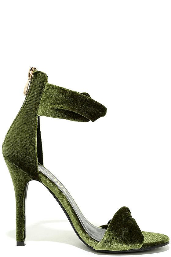 Chic Green Heels - Velvet Heels - Ankle Strap Heels - $38.00