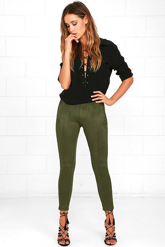 Cool Olive Green Leggings - Vegan Suede Leggings - High-Waisted Leggings -   42.00 3351e9208