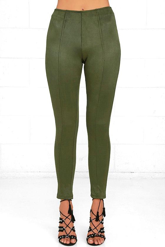 Cool Olive Green Leggings - Vegan Suede Leggings - High-Waisted ... dd3094516