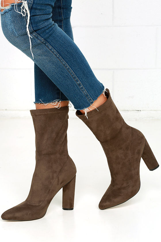 Taupe High Heel Boots - Vegan Suede Boots - Mid-Calf Boots -  47.00 28c191384