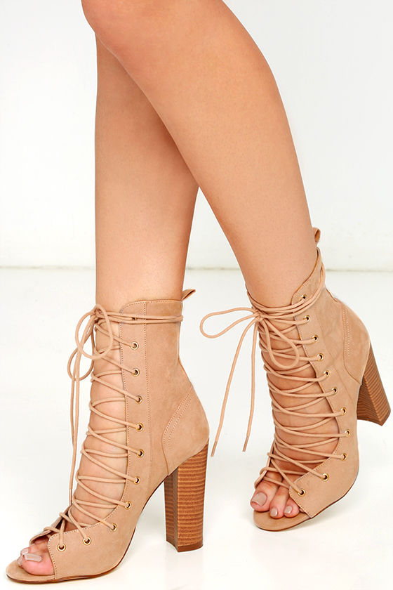 sexy beige high heel booties lace up booties beige mid calf boots. Black Bedroom Furniture Sets. Home Design Ideas