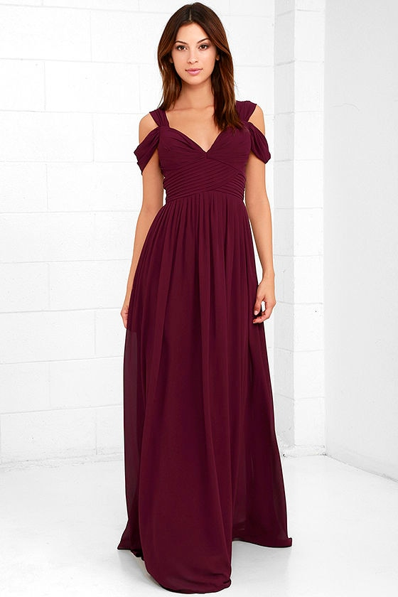 Lovely Burgundy Dress Maxi Dress Bridesmaid Dress 89 00