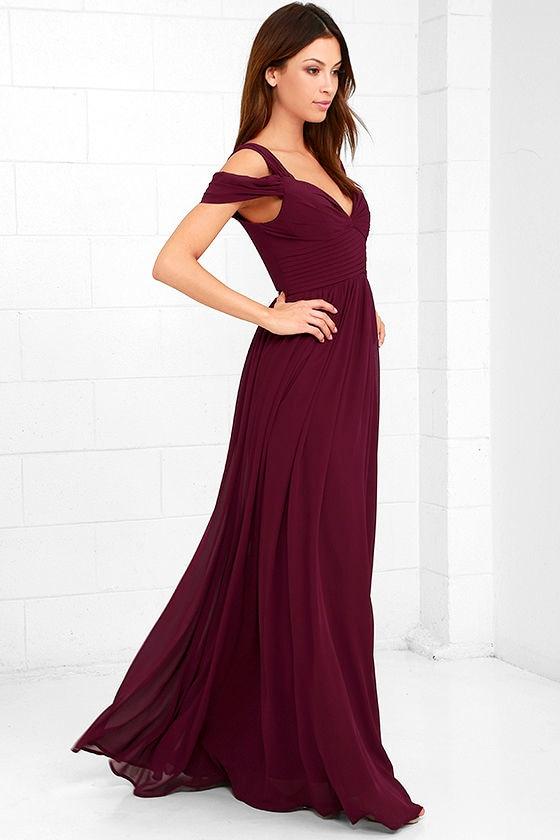 Lovely Burgundy Dress Maxi Dress Bridesmaid Dress