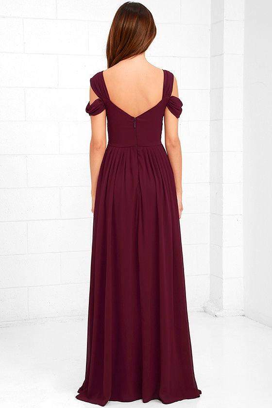 Lovely Burgundy Dress Maxi Dress Bridesmaid Dress 89 00