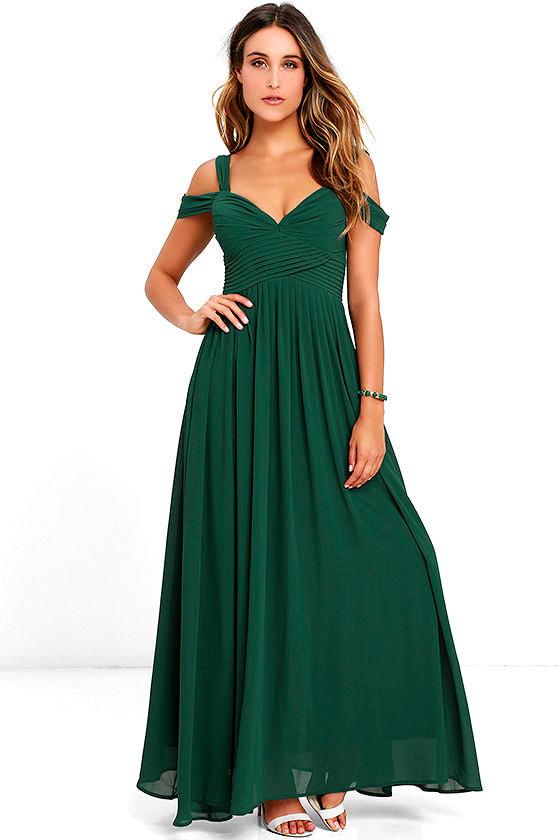 Lovely forest green dress maxi dress bridesmaid dress for Forest green wedding dress
