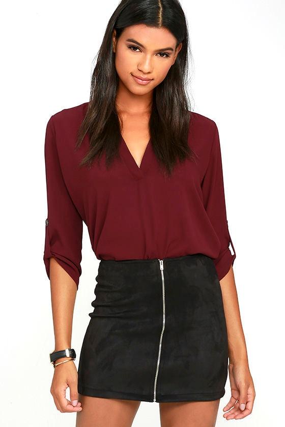 Cool Black Skirt - Mini Skirt - Suede Skirt - A-line Skirt - $44.00