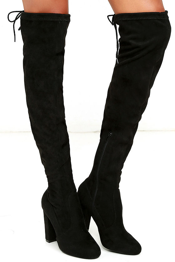 chic black suede boots black the knee boots otk