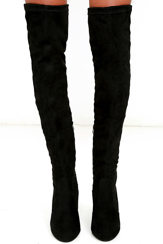 Chic Black Suede Boots - Black Over the Knee Boots - OTK Boots ...