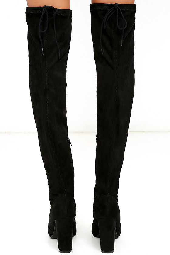 So Much Yes Black Suede Over the Knee Boots 4
