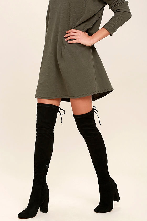 350d606b3 Siren Pia Black Boots - Black Over the Knee Boots - Suede Boots - OTK Boots