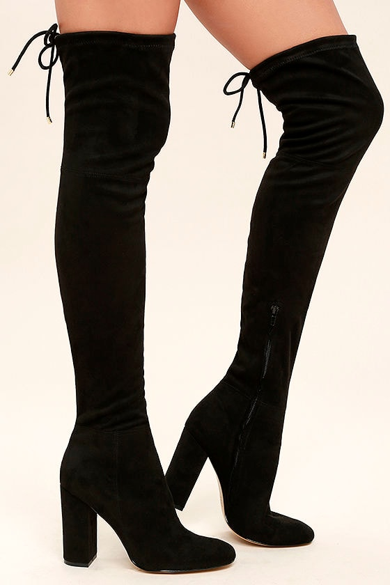 Siren Pia Black Boots - Black Over the Knee Boots - Suede Boots ...