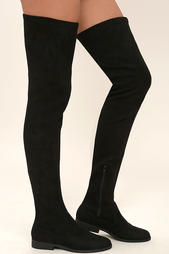 LFL Rank Black Suede Thigh High Boots 3