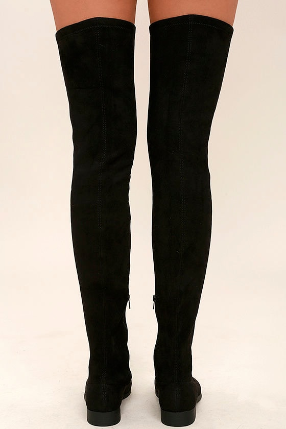 LFL Rank Black Suede Thigh High Boots 4