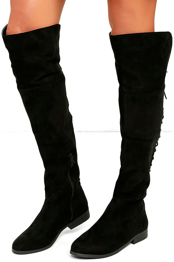 LFL Ramsey Boots - Black Suede Boots - Lace-Up Boots - OTK Boots ...