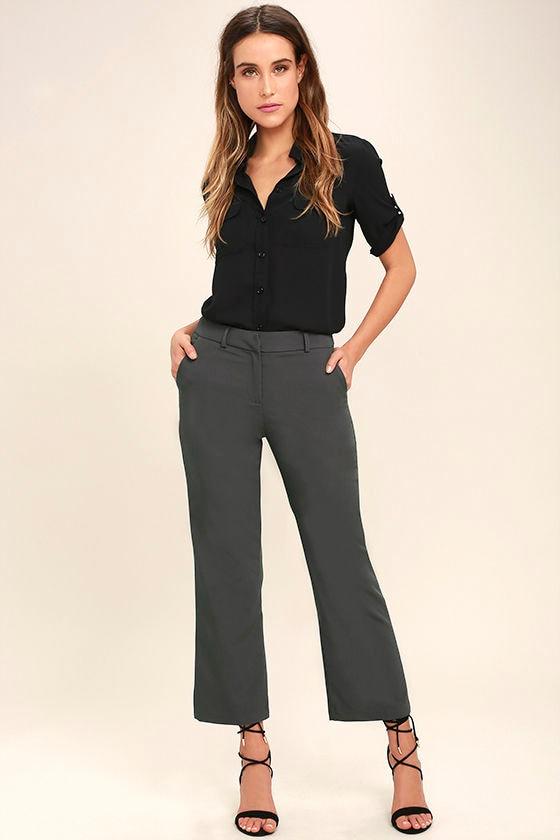 ab80443e2e20f2 Chic Dark Grey Pants - Cropped Pants - Trouser Pants - Dress Pants - $46.00