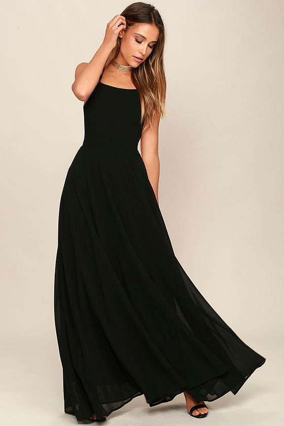 Chic Black Dress - Lace-Up Dress - Backless Dress - Maxi Dress ...