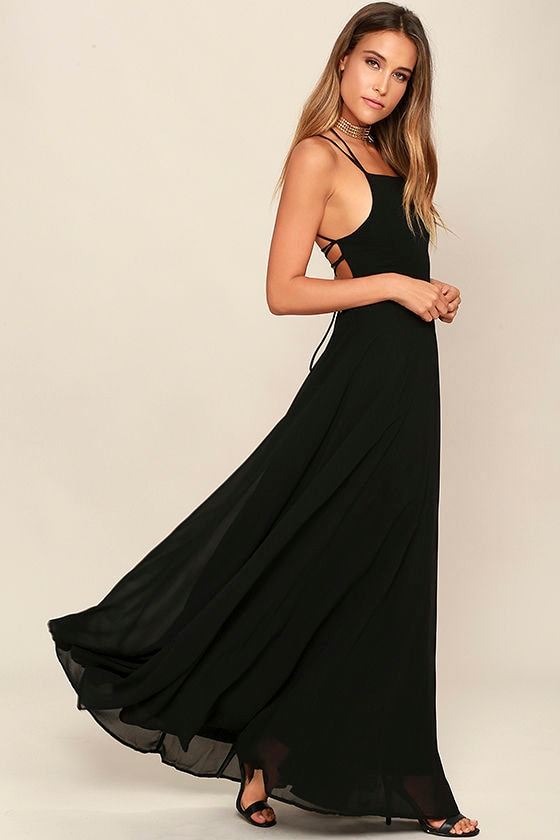 Strappy to be Here Black Maxi Dress 3