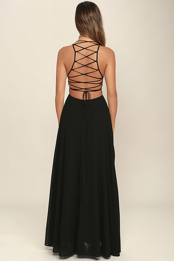 Strappy to be Here Black Maxi Dress 4