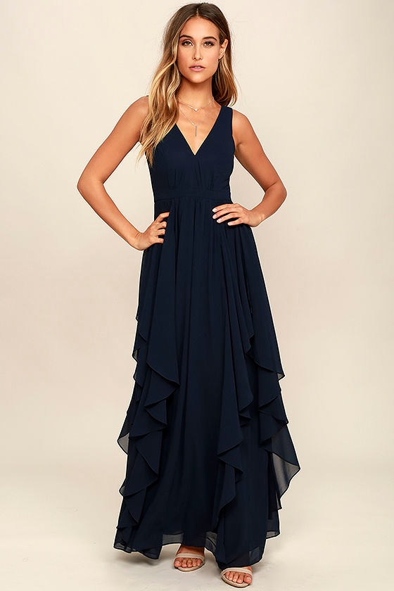 Lovely Navy Blue Dress - Maxi Dress - Bridesmaid Dress - $92.00