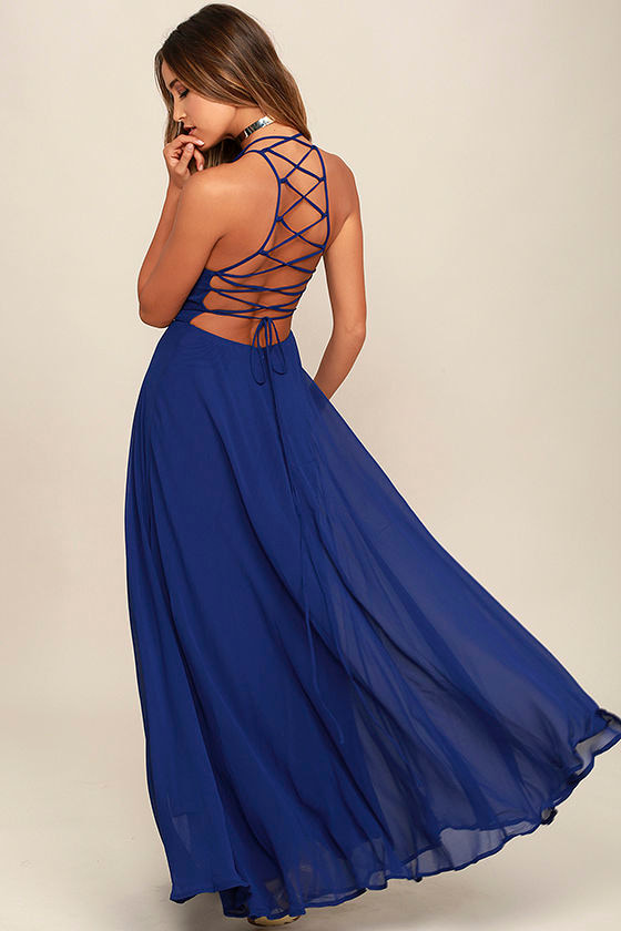 Chic Royal Blue Dress - Lace-Up Dress - Backless Dress - Maxi ...