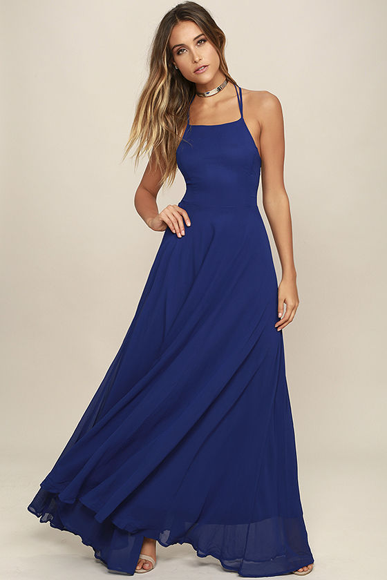 Strappy to be Here Royal Blue Maxi Dress 2