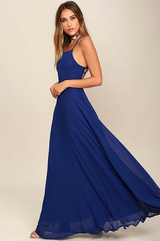 Strappy to be Here Royal Blue Maxi Dress 3