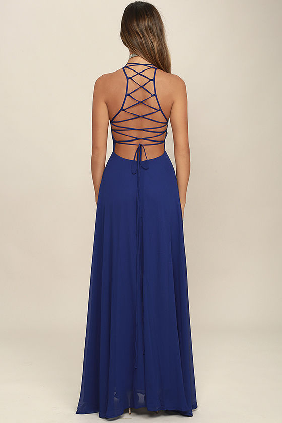 Strappy to be Here Royal Blue Maxi Dress 4